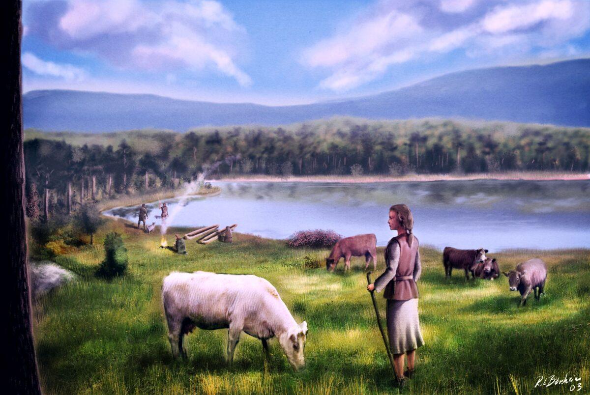 målning kvinna med kor vid sjö i skogskant